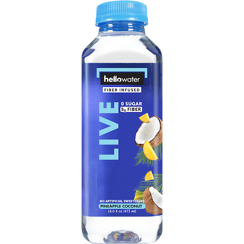 HELLO WATER - LIVE (0 Sugar 5g Fiber) - (Pineapple Coconut) - 16oz