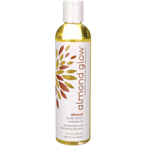 HOME HEALTH - ALMOND GLOW - BODY LOTION MASSAGE OIL MOISTURIZES AND REVITALIZES - (Almond) - 8oz