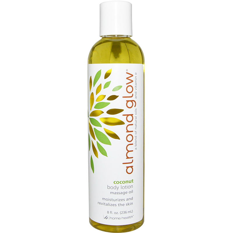 HOME HEALTH - ALMOND GLOW - BODY LOTION MASSAGE OIL MOISTURIZES AND REVITALIZES - (Coconut) - 8oz