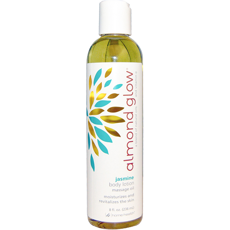 HOME HEALTH - ALMOND GLOW - BODY LOTION MASSAGE OIL MOISTURIZES AND REVITALIZES - (Jasmine) - 8ozHOM