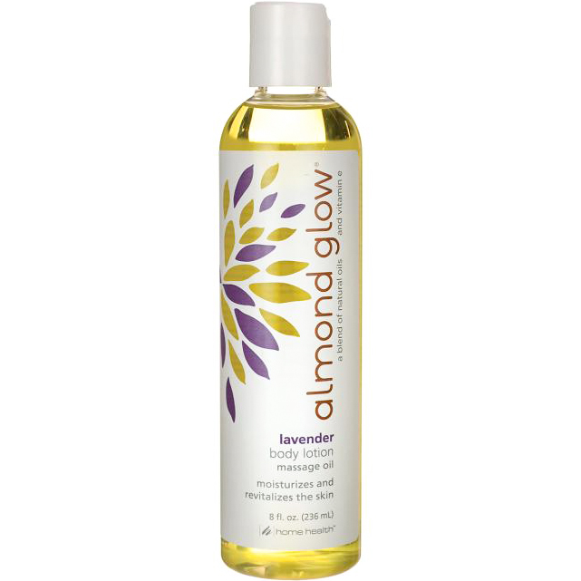 HOME HEALTH - ALMOND GLOW - BODY LOTION MASSAGE OIL MOISTURIZES AND REVITALIZES - (Lavender) - 8oz