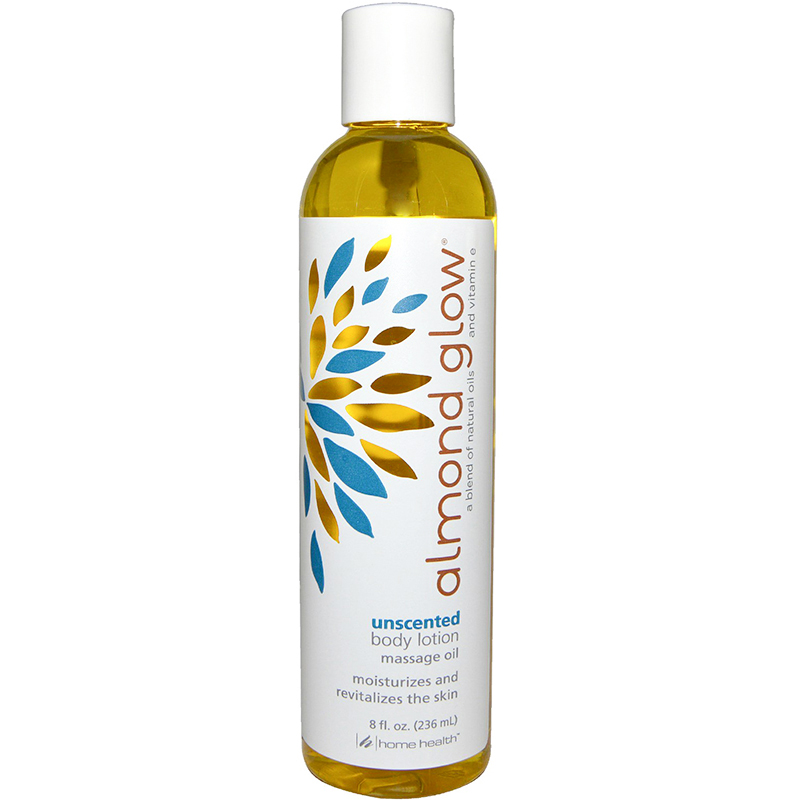 HOME HEALTH - ALMOND GLOW - BODY LOTION MASSAGE OIL MOISTURIZES AND REVITALIZES - (Unscented) - 8oz