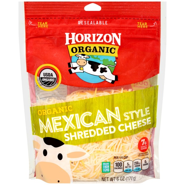 HORIZON - ORGANIC MEXICAN STYLE SHREDDED CHEESE - NON GMO - 6oz
