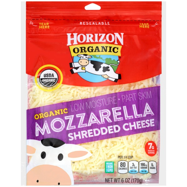HORIZON - ORGANIC MOZZARELLA SHREDDED CHEESE - NON GMO - 6oz