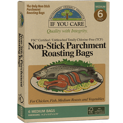 IF YOU CARE - NON STICK PARCHMENT ROASTING BAGS - 6 BAGS