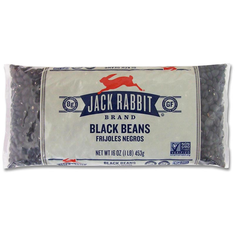JACK RABBIT - BLACK BEANS - NON GMO - GLUTEN FREE - 16oz