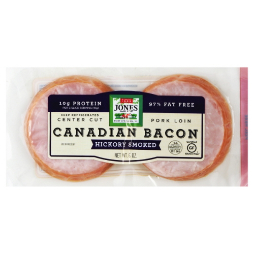JONES - HICKORY SMOKED CANADIAN BACON - 6oz