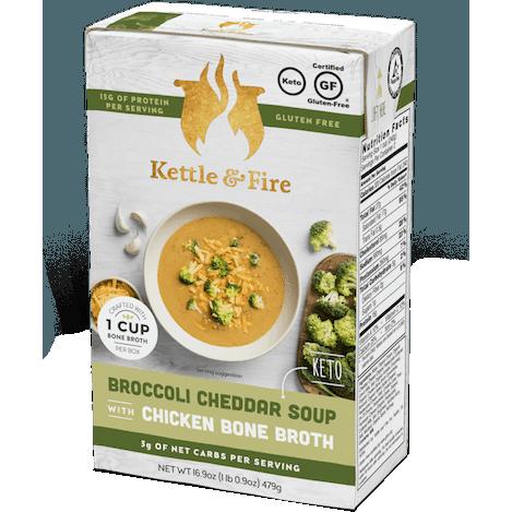 KETTLE & FIRE - CHICKEN BONE BROTH - (Broccoli Cheddar Soup) - 16.9oz