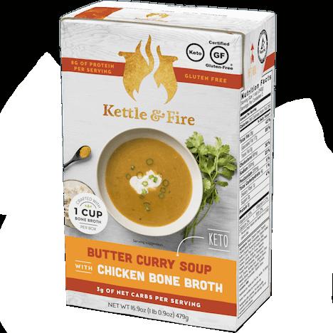 KETTLE & FIRE - CHICKEN BONE BROTH - (Butter Curry Soup) - 16.9oz