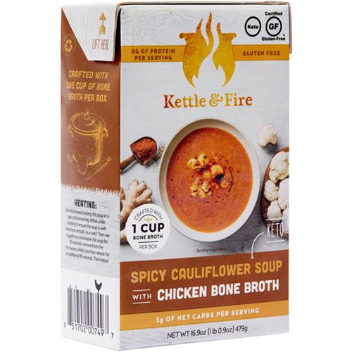 KETTLE & FIRE - CHICKEN BONE BROTH - (Spicy Cauliflower Soup) - 16.9oz