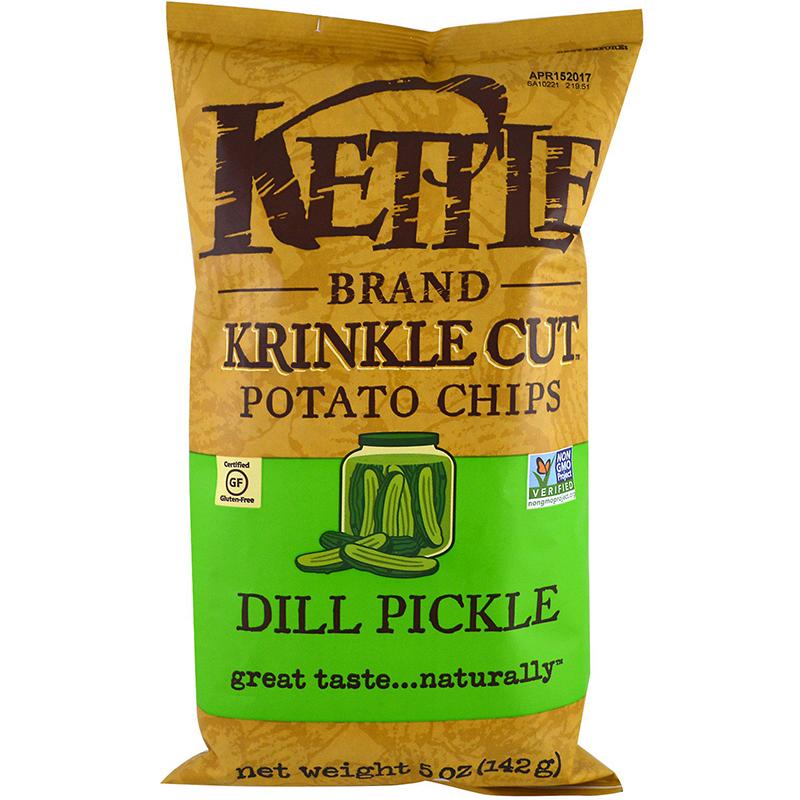 KETTLE - POTATO CHIPS - GLUTEN FREE - NON GMO - (Dill Pickle) - 5oz