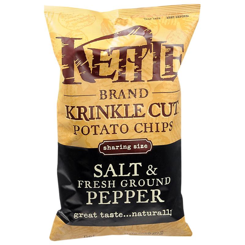 KETTLE - POTATO CHIPS - GLUTEN FREE - NON GMO - (Salt & Fresh Ground Pepper) - 5oz