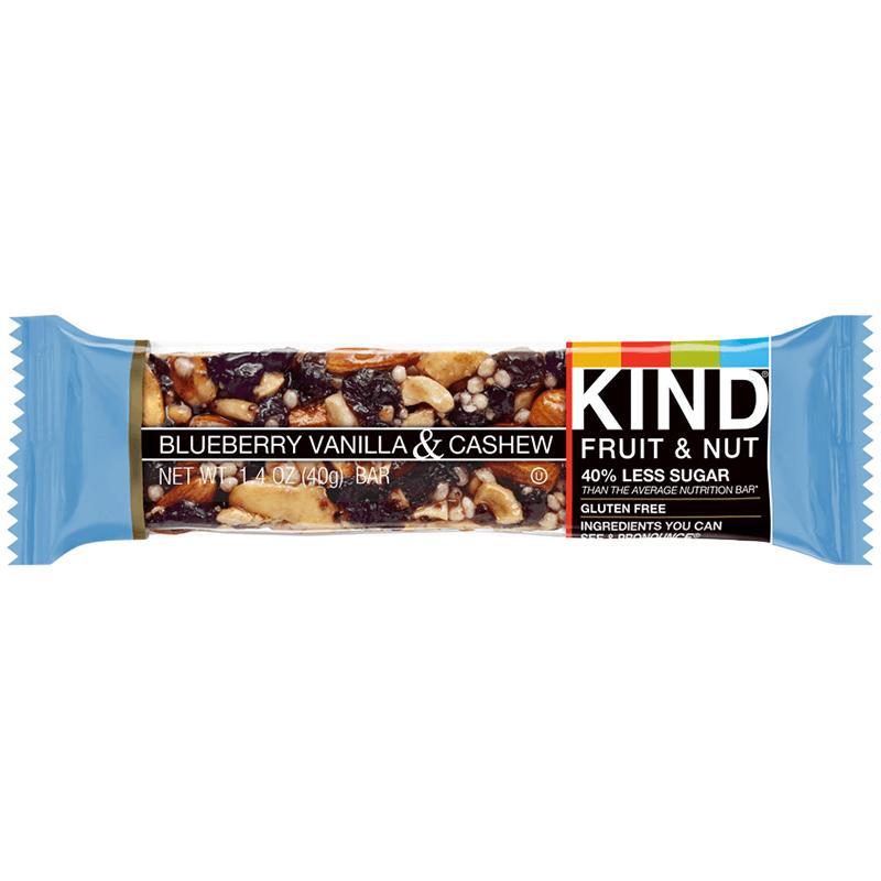 KIND - FRUIT & NUT - GLUTEN FREE - (Blueberry Vanilla & Cashew) - 1.4oz