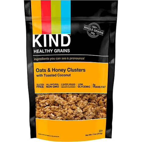 KIND - HEALTHY GRAINS - (Oats & Honey Clusters with Toasted Coconut) - 11oz