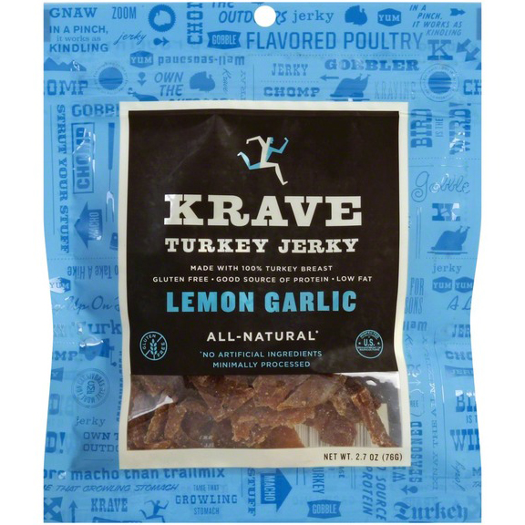 KRAVE - TURKEY JERKY - GLUTEN FREE - (Lemon Garlic) - 2.7oz