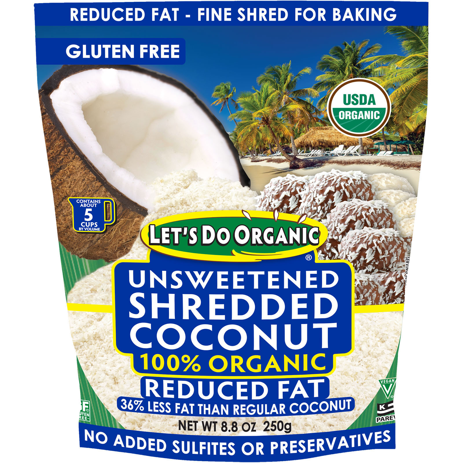 LET'S DO ORGANIC - UNSWEETENED SHREDDED COCONUT 100% ORGANIC - 8.8oz