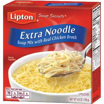 LIPTON - EXTRA NOODLE SOUP MIX /W REAL CHICKEN BROTH - 4.9oz