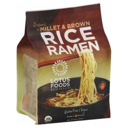 LOTUS FOODS - RICE RAMEN - GLUTEN FREE - VEGAN - ORGANIC (Millet & Brown) - 10oz (4PCK)