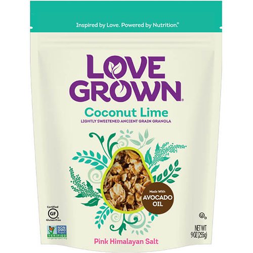 LOVE GROWN - LIGHTLY SWEETENED ANCIENT GRAIN GRANOLA - (Coconut Lime) - 9oz