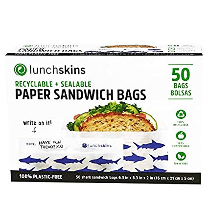 LUNCH SKINS - RECYCLABLE + SEALABLE PAPER SANDWICH BAGS - 50bags