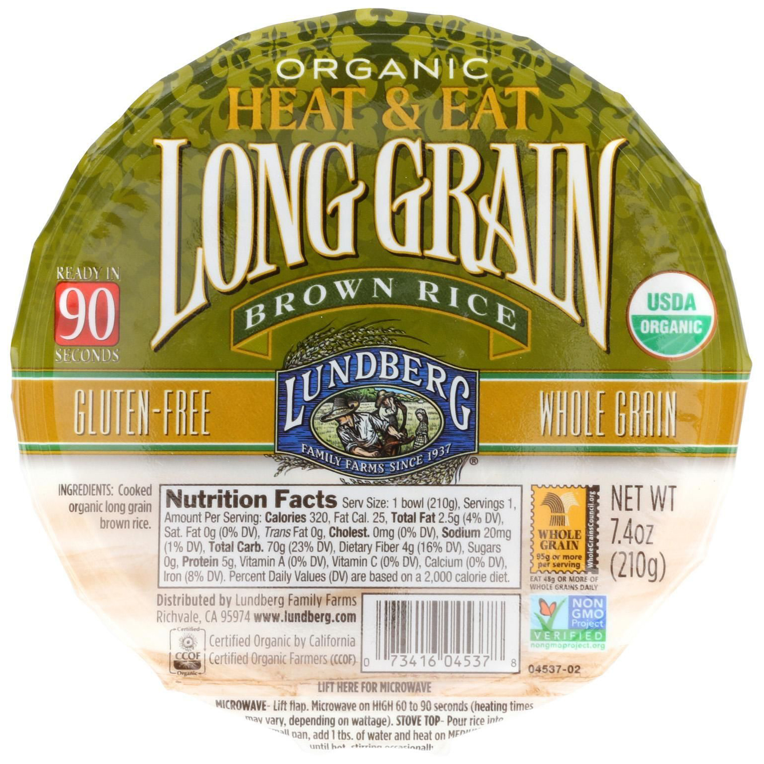 LUNDBERG - ORGANIC LONG GRAIN RICE - NON GMO - GLUTEN FREE - (Brown) - 7.4oz
