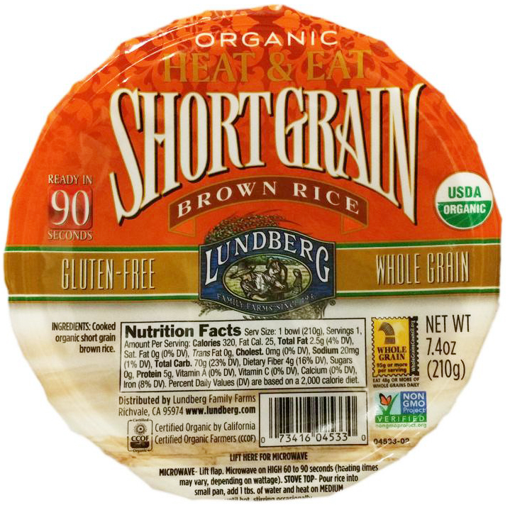 LUNDBERG - ORGANIC SHORT GRAIN RICE - NON GMO - GLUTEN FREE - (Brown) - 7.4oz