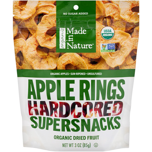 MADE IN NATURE - SUPERSNACKS - NON GMO - (Apple Rings Hardcored) - 3oz