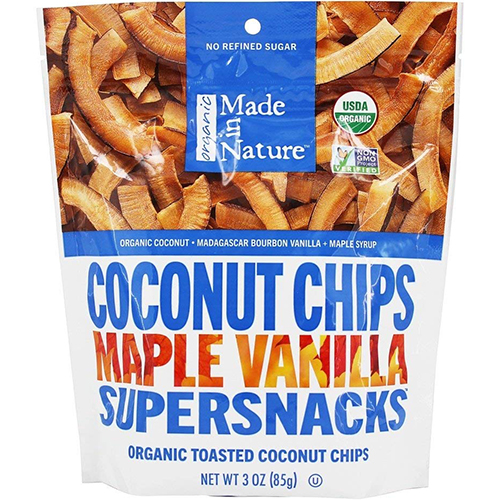 MADE IN NATURE - SUPERSNACKS - NON GMO - (Coconut Chips Maple Vanilla) - 3oz