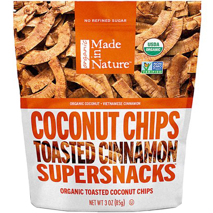 MADE IN NATURE - SUPERSNACKS - NON GMO - (Coconut Chips Toasted Cinnamon) - 3oz