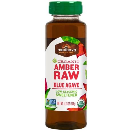 MADHAVA - ORGANIC AMBER RAW BLUE AGAVE NECTAR - NON GMO - GLUTEN FREE - VEGAN - 11.75oz