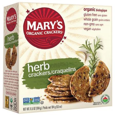 MARY'S - ORGANIC CRACKERS - NON GMO - GLUTEN FREE - VEGAN - (Herb) - 6.5oz