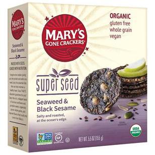 MARY'S - ORGANIC SUPER SEED CRACKERS - NON GMO - GLUTEN FREE - VEGAN - (Seaweed&BLK Sesame)-5.5oz