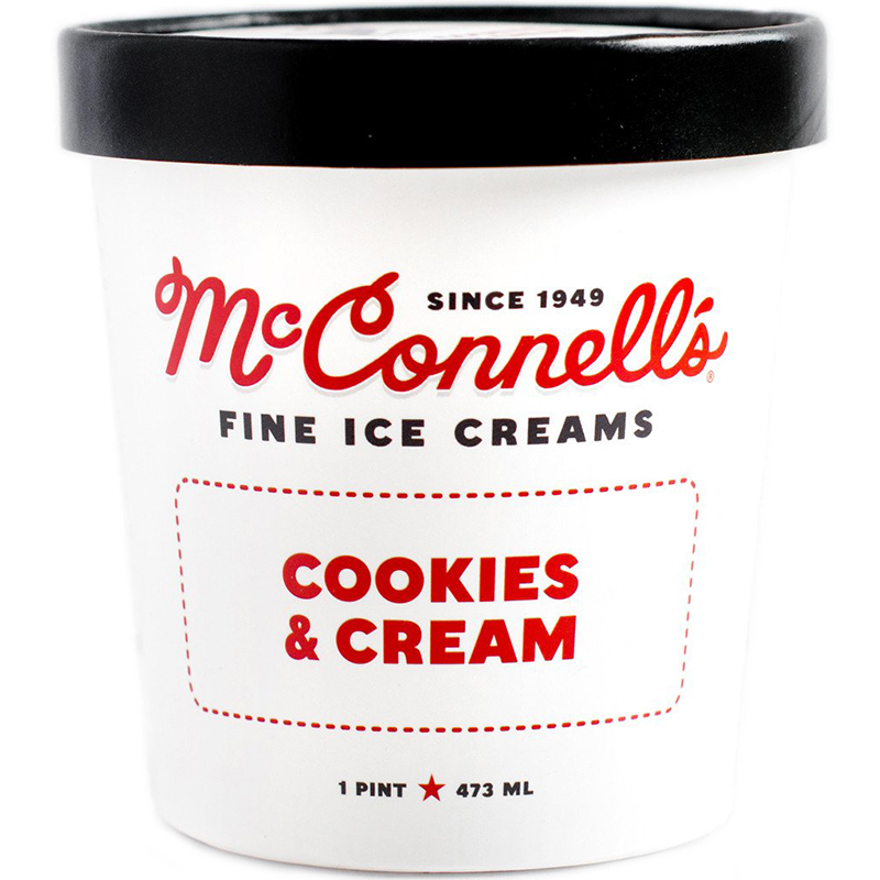 McCONNELL'S - FINE ICE CREAMS - GLUTEN FREE - (Cookies & Cream) - 16oz