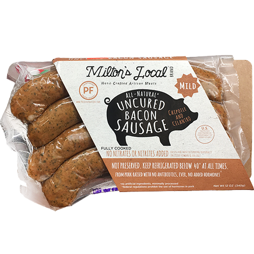 MILTON'S LOCAL - ALL NATURAL UNCURED BACON SAUSAGE - NON GMO - GLUTEN FREE - (Chipotle and Cilantro)
