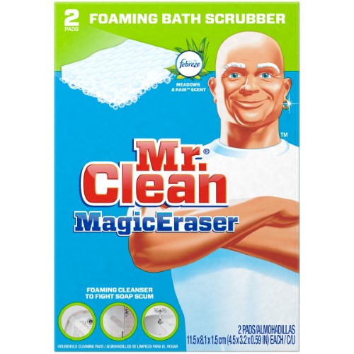 MR CLEAN - MAGIC ERASER FOAMING BATH SCRUBBER - 2PADS
