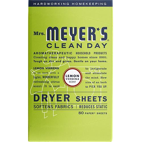 MRS MEYER'S - DRYER SHEETS - (Lemon Verbena) - 80 Sheets