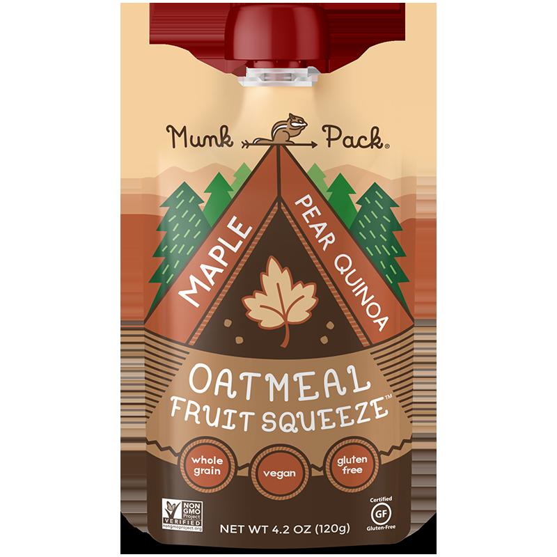 MUNK PACK - OATMEAL FRUIT SQUEEZE - NON GMO - GLUTEN FREE - VEGAN - (Maple Pear Quinoa) - 4.2oz