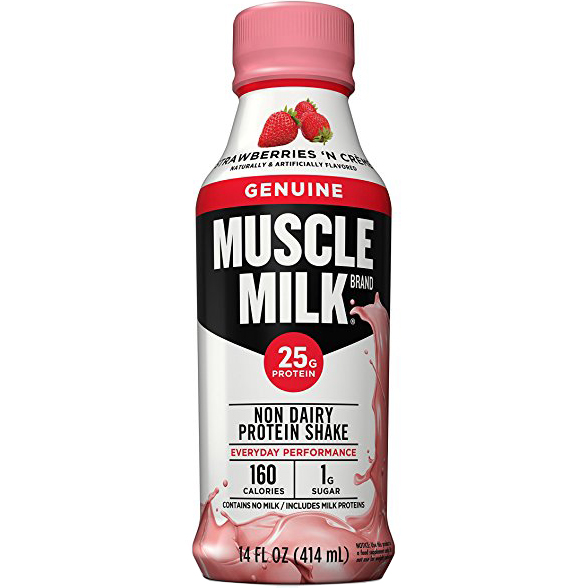 MUSCLE MILK - NON DAIRY PROTEIN SHAKE - GLUTEN FREE - (Strawberry) - 17oz