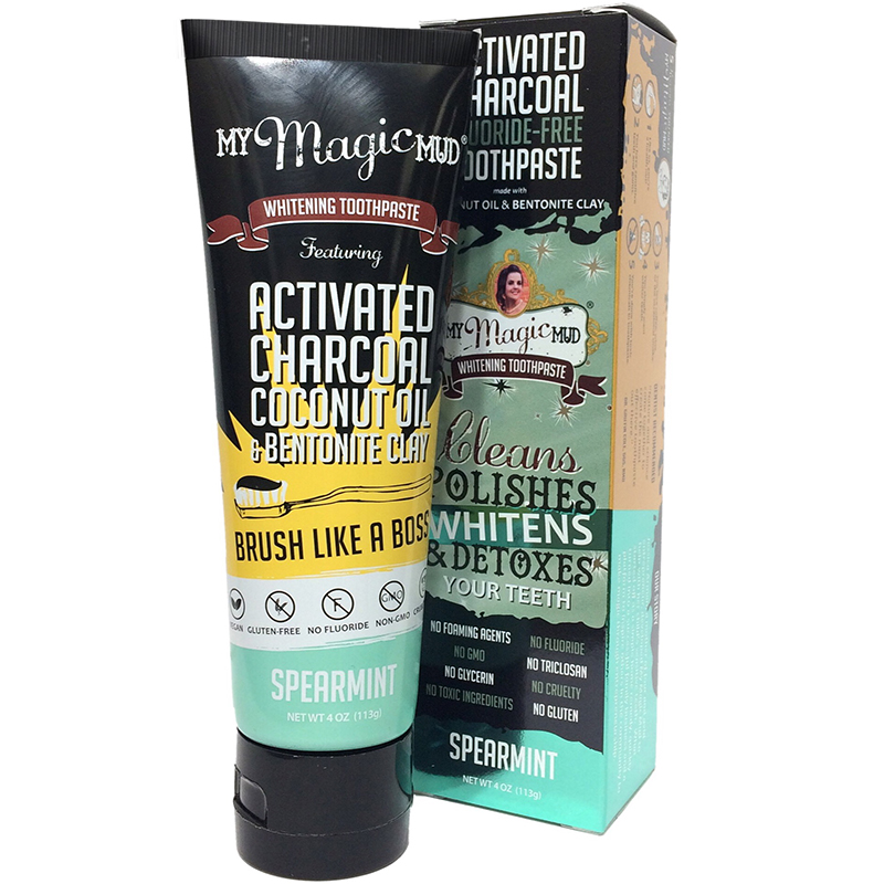 MY MAGIC MUD - ACTIVATED CHARCOAL TOOTHPASTE FOR POLISHES WHITENS & DETOXES - (Spearmint) - 4oz