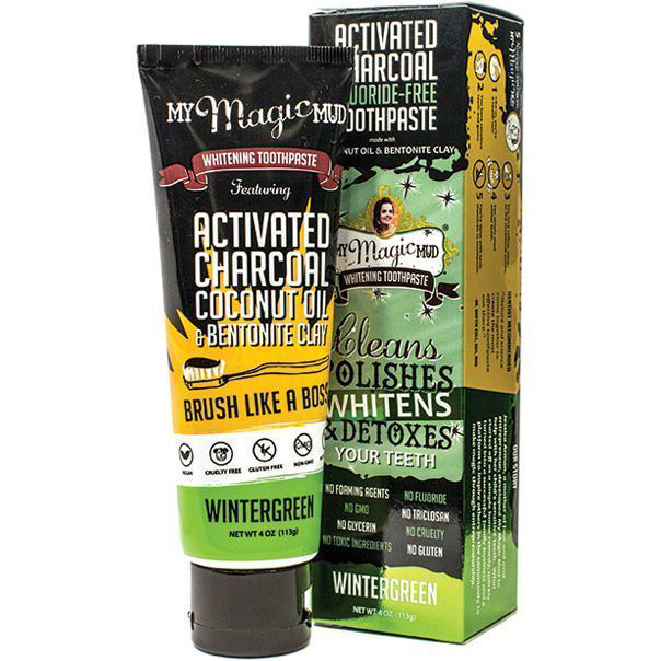 MY MAGIC MUD - ACTIVATED CHARCOAL TOOTHPASTE FOR POLISHES WHITENS & DETOXES - (Wintergreen) - 4oz