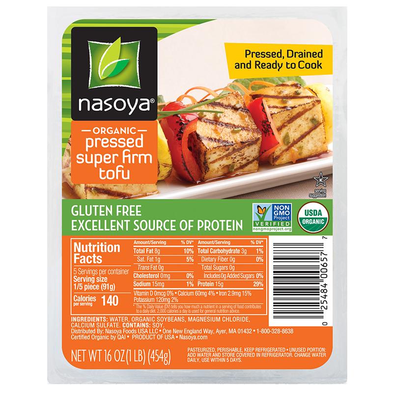 NASOYA - ORGANIC PRESSED SUPER FIRM TOFU - NON GMO - GLUTEN FREE - 16oz