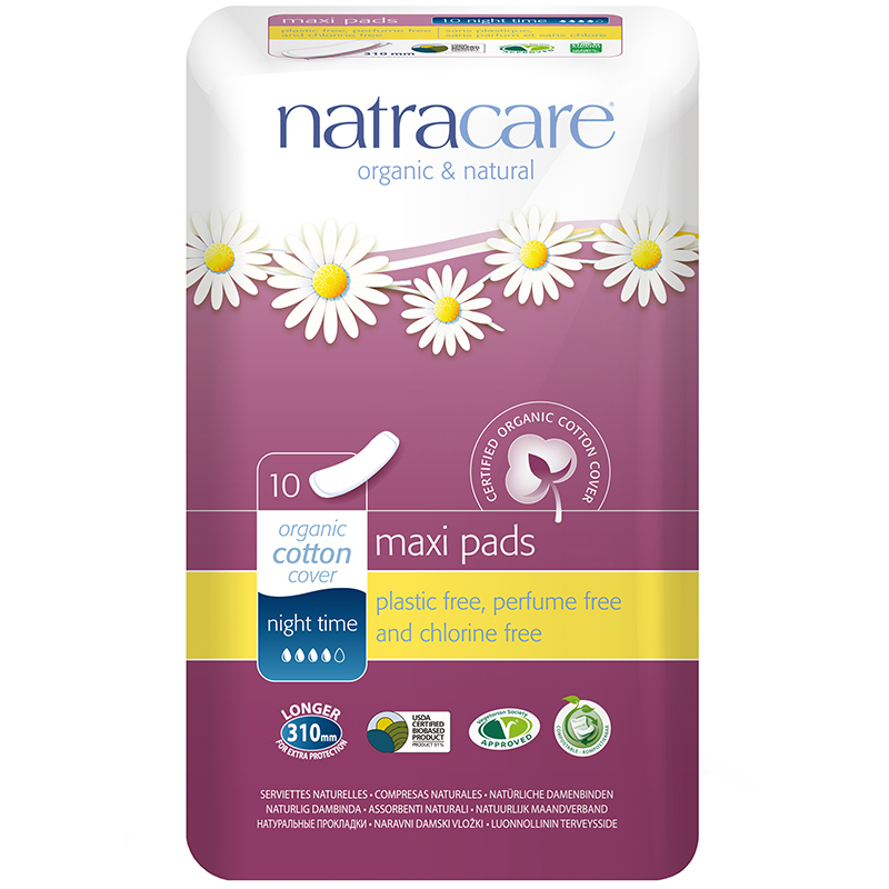 NATRACARE - ORNAGIC & NATURAL COTTON COVER NIGHT TIME - (Maxi) - 10pads