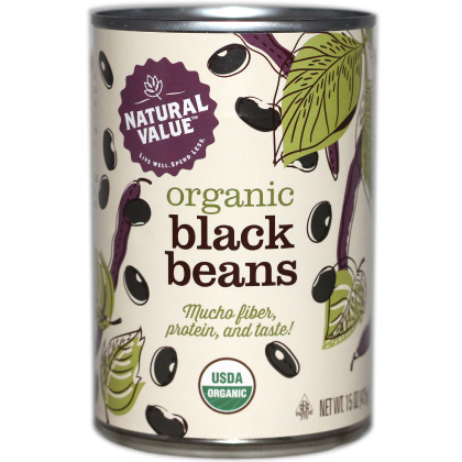 NATURAL VALUE - ORGANIC BLACK BEANS - 15oz