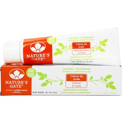 NATURE'S GATE - FLUORIDE & CARRAGEENAN FREE TOOTHPASTE - NON GMO - (Cream de Anise) - 6oz