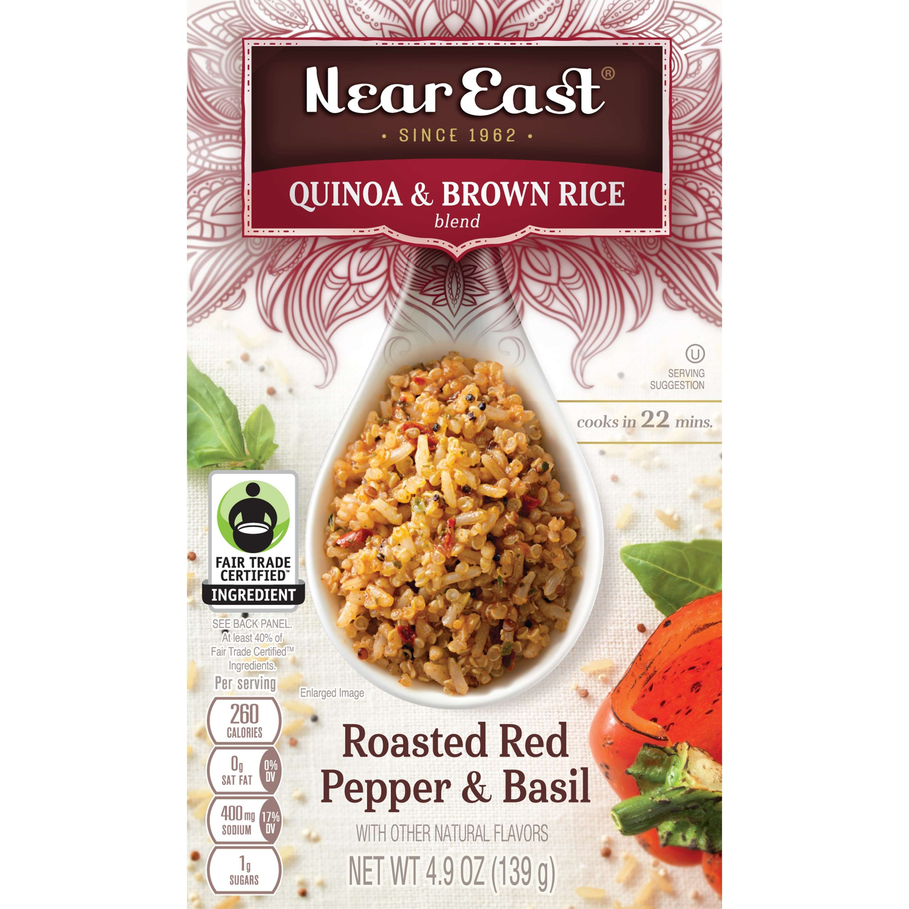 NEAR EAST - QUINOA & BROWN RICE - (Roasted Red Pepper & Basil) - 4.9oz