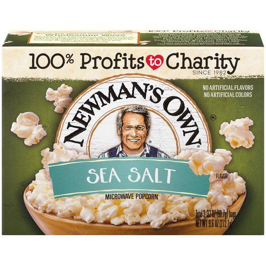 NEWMAN'S OWN - MICROWAVE POPCORN - (Sea Salt) - 9.6oz