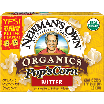 NEWMAN'S OWN - ORGANIC POPCORN - (Butter) - 9.9oz