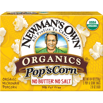 NEWMAN'S OWN - ORGANIC POPCORN - (No Butter No Salt) - 9.9oz