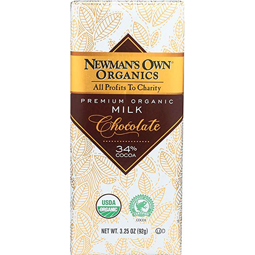 NEWMAN'S OWN ORGANICS - PREMIUM ORGANIC MILK CHOCOLATE - (34%) - 3.25oz