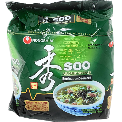 NONGSHIM - SOO RAMYUN AIR DRIED NOODLES - 3.24oz (4PCK)
